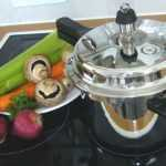 pressure cooker on a glass top stove