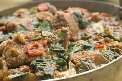 Instant Pot Lamb Spinach Plate