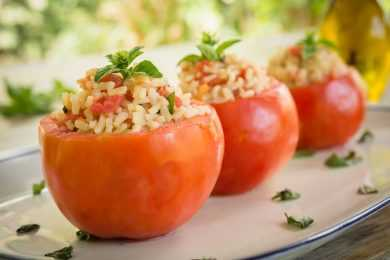 Instant Pot Steamed Tomatoes with Buttered Rice