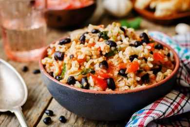 Instant Pot Fiesta Black Beans in Rice