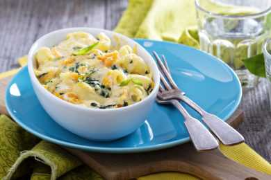 Instant Pot Mac and Cheese with Spinach & Pine Nuts