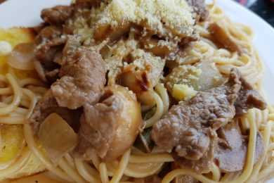 Instant Pot Pork Stroganoff with Spaghetti