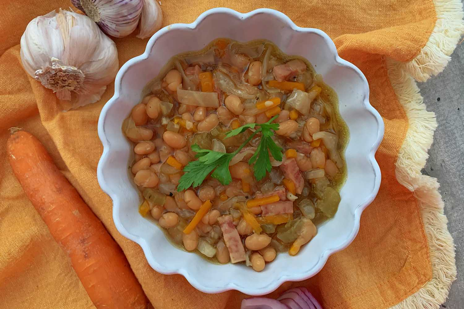 Instant Pot Ham and Beans top view